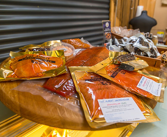 A selection of smoked meats and salmon available at Fat Albert Smokehouse in Fairlie.