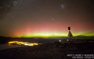 The view of the Southern Lights from Mt John in Lake Tekapo, New Zealand.