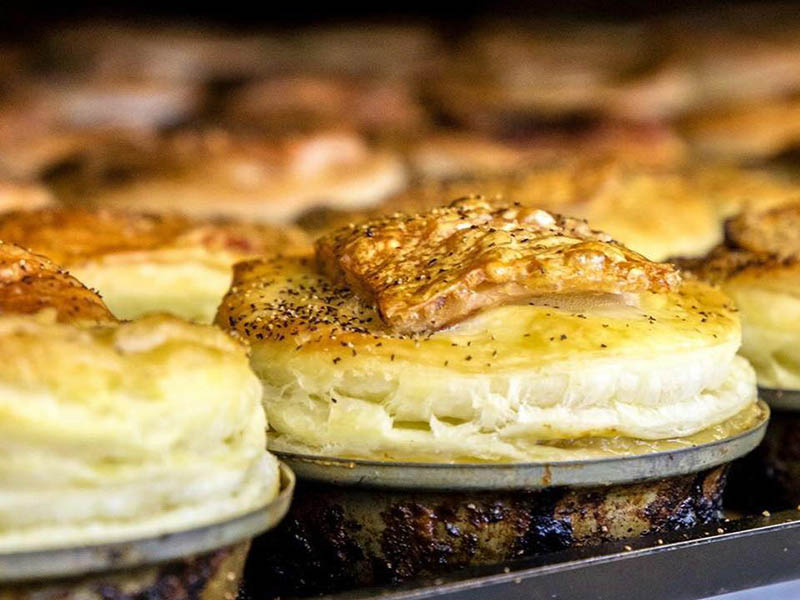 Fresh baked pork belly pies from the Fairlie Bakehouse.